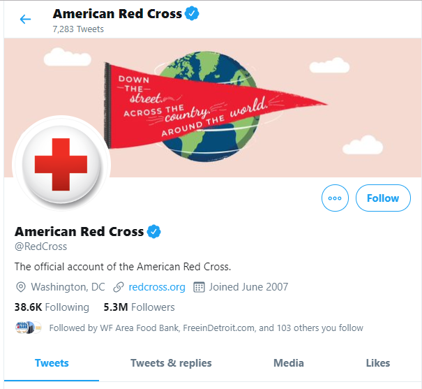 American Red Cross Twitter