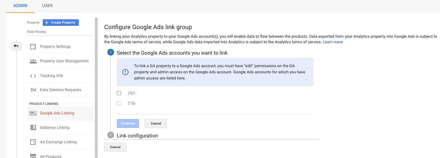 Google Ads Linking Select Account