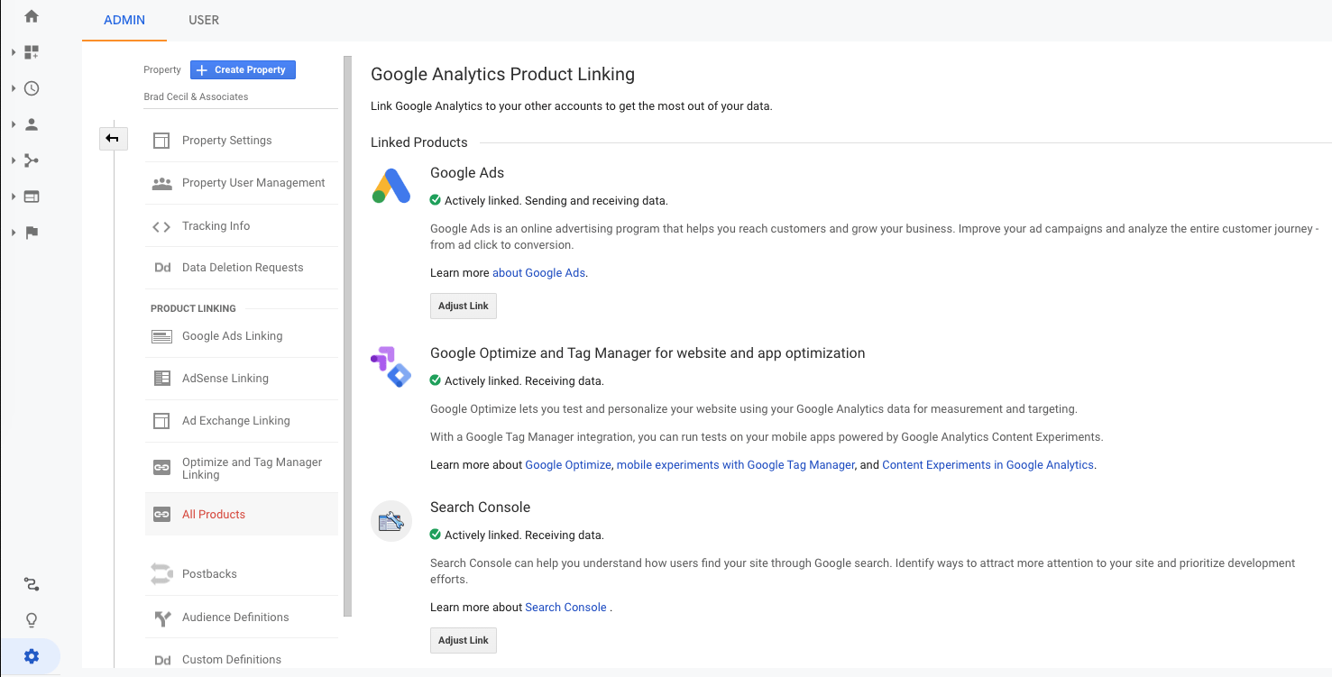Google Analytics Search Console Linking