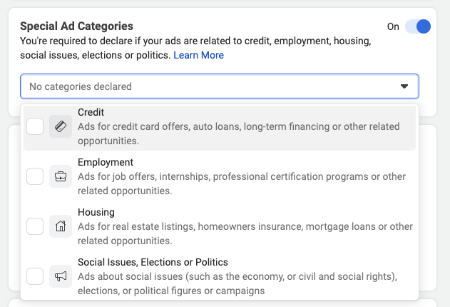 Special Ads Categories